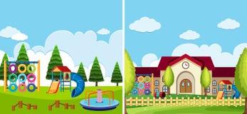 Två lekplatsplatser på parkera och skolan vektor illustrationer
