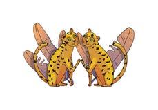 Två leoparder och tropiska sidor med lutningar wild djur Stora katter med den prickiga kroppen Hand dragen vektordesign vektor illustrationer