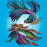 Två lilla fiskar, yin-Yang som hand-dras Stock Illustrationer
