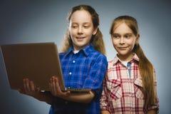 Två lilla lyckliga flickor som använder bärbara datorn, isolerade grå bakgrund royaltyfri bild