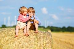 Två lilla siblingpojkar och vänner som sitter på höbunt Fotografering för Bildbyråer