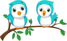 Två lite fåglar på filialen stock illustrationer