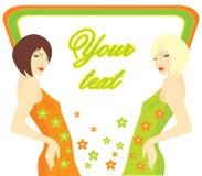 Två ljusa flickor i en apelsin och en gräsplan klär med blommor stock illustrationer