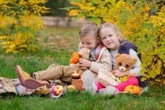 Två lyckliga barn som spelar i hösten, parkerar arkivfoton