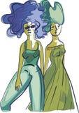 Två lyckliga flickor går vektor illustrationer