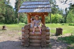 Två lyckliga flickor spelar i trä väl på lekplatsen Royaltyfri Bild