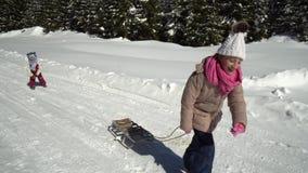Två lyckliga härliga barn har roliga släderitter i entäckt skog i bergen i vintern Broder och stock video