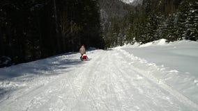Två lyckliga härliga barn har roliga släderitter i entäckt skog i bergen i vintern Broder och arkivfilmer