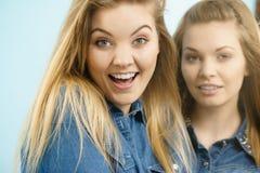 Två lyckliga kvinnavänner som har gyckel Royaltyfri Foto