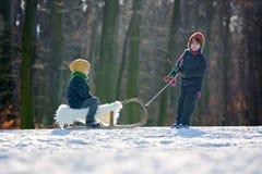 Två lyckliga lilla barn, pojkar som utomhus spelar i snöig, parkerar Arkivfoton
