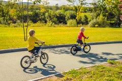 Två lyckliga pojkar som cyklar i, parkerar royaltyfri foto