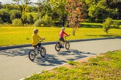 Två lyckliga pojkar som cyklar i, parkerar arkivfoto