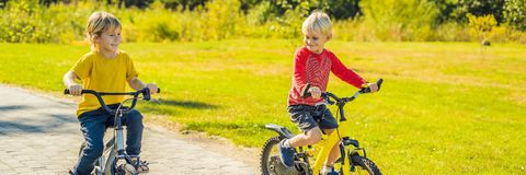 Två lyckliga pojkar som cyklar i, parkerar BANRET, LÅNGT FORMAT fotografering för bildbyråer