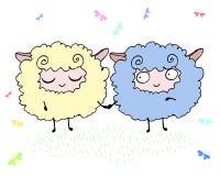 Två lyckliga roliga fluffiga lamm i en äng vektor illustrationer