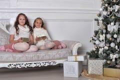 Två lyckliga systrar på jul Royaltyfri Bild