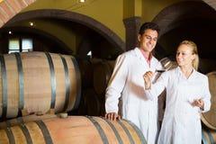 Två lyckliga vinhusarbetare som kontrollerar kvalitet av produkten Royaltyfri Foto