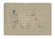 två män är förlovade i Kung Fu Arkivfoton