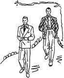Två män i dräkter stock illustrationer