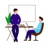 Två män meddelar i kontoret En grabb sitter i en stol bredvid tabellen stock illustrationer