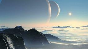 Två måne och främlingplanet vektor illustrationer