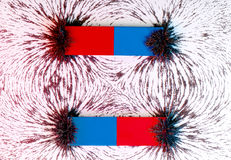 Två magneter för parallell stång och det magnetiska fältet