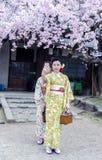 Två Maiko som bär den härliga kimonot, gör selfie Royaltyfri Foto