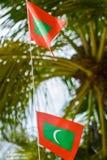 Två maldivian röda nationsflaggor för grön färg på repet under härlig blåsig dag royaltyfri foto