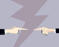 Två manhänder med att peka fingret riktade på de också vektor för coreldrawillustration Begrepp av att argumentera, beskyllning,  Royaltyfri Bild
