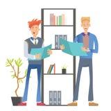 Två mankontorsarbetare i tillfällig kläder som står på hyllan med mappar och innehavdokument Affärsvektor stock illustrationer