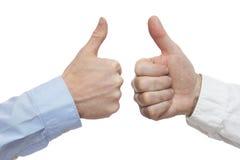 Två manliga händer med fingrar upp Royaltyfria Foton