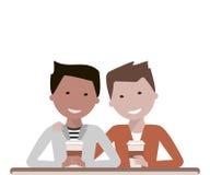 Två manvänner som dricker kaffe royaltyfri illustrationer