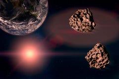 Två meteor som kör i den stjärnklara himlen, in mot planetjorden Arkivbild