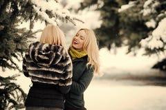 Två modeller som ler i varm kläder fotografering för bildbyråer