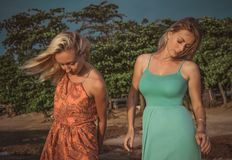 Två modemodeller som poserar i rött och turkos, klär i strålarna av inställningssolen på en tropisk strand Royaltyfri Foto