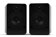 Två moderna ljudsignal högtalare - som isoleras på vit bakgrund Arkivfoto