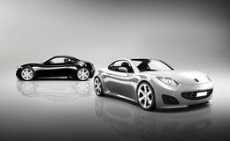 Två moderna skinande sportbilar Royaltyfria Foton