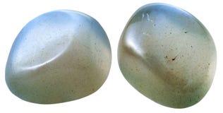 Två Moonstone (månsten som, är adular) gemstones Fotografering för Bildbyråer