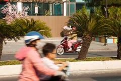 Två mopeder i rörelse på en tyst solig väg royaltyfri foto