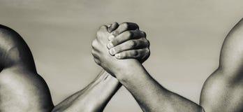 Två muskulösa händer isolerad rivalitetwhite för bakgrund begrepp Hand rivalitet, vs, utmaning, styrkajämförelse mannen för boxni royaltyfri foto