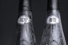 Två mycket gamla Murfatlar vinflaskor, isolerat royaltyfri foto