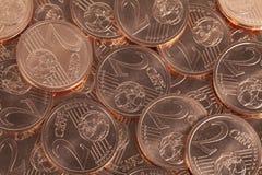 Två mynt för eurocent Royaltyfria Bilder