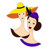 Två mystiska härliga damer i hattar Vektortecknad film Arkivbilder