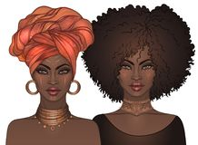 Två nätta flickor för afrikansk amerikan med glansiga kanter Vektorillus royaltyfri illustrationer