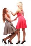 Två nätta kvinnor som är ljust rödbrun med blondinen i kappor på vit Arkivfoton