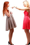Två nätta kvinnor som är ljust rödbrun med blondinen i kappor på vit Royaltyfri Bild
