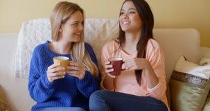 Två nätta unga kvinnor tycker om ett avslappnande kaffe Royaltyfri Fotografi