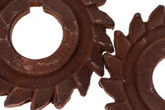 Två oerhörda rostiga chokladkugghjul Arkivbild