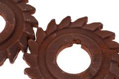 Två oerhörda rostiga chokladkugghjul Royaltyfri Fotografi