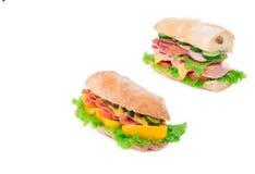 Två olika smörgåsar Arkivfoto
