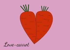 Två orange morötter som appliceras med de i form av hjärta Royaltyfri Foto